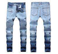 Jeans da uomo elasticizzati con pieghe pieghettati blu scuro Slim Fit Designer con motivo a righe Pantaloni da motociclista in motocicletta con motivo dritto Streetwear QKN5010