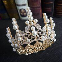 2021 Симпатичные Золотой жемчуг Кристалл Люкс Королева Коронки Юниор дамы Женщины Свадебная обувь Hairband Lusuxiour Pricess Диадемы