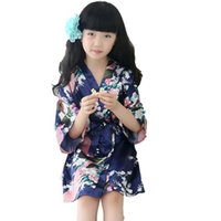 Children Peacock silk Nightgown kids floral Kimono pajams ba...