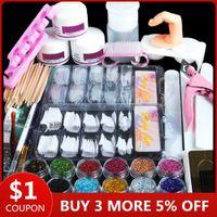 Acrylic Nail Art Kit Manicure Set 12 Kleuren Nail Glitter Poeder Decoratie Acryl Pen Borstel Art Tool Kit voor beginners