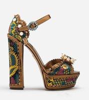 Бесплатная доставка 2020 дамы Алмаз жемчуг вышить 14 см коренастый высокий каблук открытый peep-toes европейский американский дворец сандалии обувь коричневый 003