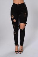 Nero jeans strappati per le donne Denim pantaloni della matita dei pantaloni a vita alta Stretch Skinny jeans strappati Jeggings Plus Size 2020