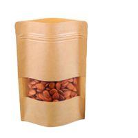 17x24cm Stand Kraft Carta Finestra smerigliata Showcase Packaging Food Bags Sigillo di calore Sigillante Zip riutilizzabile Candy Snacks Snack Tè Package Pouch