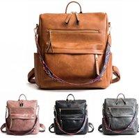 Женщины PU Рюкзак кошелек водонепроницаемый Crossbody Учиться в России плечо сумка многофункциональная сумка Школьные рюкзаки отрезные красочные пояса LJJA3484-A