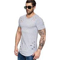 봄 짧은 T 셔츠 남성 패션 구멍 디자인 피트니스 t- 셔츠 여름 짧은 소매 솔리드 슬림 맞춤 힙합 티셔츠