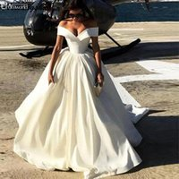 Robe Soiree Dubai Off the Shoulder Ball Gown Satin Ivory Eve...