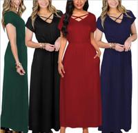 Solid Short Sleeve casual dress Criss Cross women girls dress summer beach sundress Mini Dress sukienka vestidos