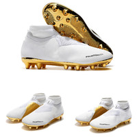 Souliers de football en or blanc chauds Ronaldo CR7 Chaussures de football originales Traitement exquis Bottes de football Phantom VSN Elite DF FG
