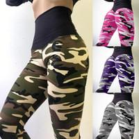 Neue Frauen-Yoga-Hosen-Tarnungs-Druck-feste dünne Sportgamaschen-hohe Taillen-elastische Eignungs-Gamaschen für Frau
