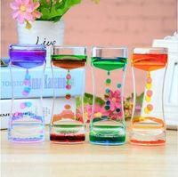 Flottant Mélange de couleurs Illusion Minuterie Liquid Motion Visual Slim liquide Huile Verre Acrylique Sablier Minuterie Horloge Ornement Bureau