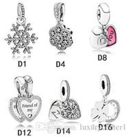 Authentic 925 sterling argento pendente perline si adatta a Pandora Braccialetto Charms colorato per la collana della catena del serpente europeo moda gioielli fai da te