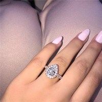 Vecalon Lovers Promise Ring set Pear cut 5A Zircon Stone 925...