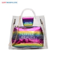 Fashion Jelly Clear Transparent Beach Bag For Women Candy Co...