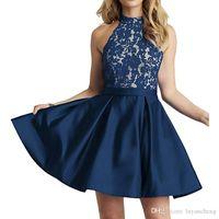 Sexy Halter Short Homecoming Dresses Navy Blue Pizzo con abito da ballo di laurea in raso Abiti da ballo mini abiti da cocktail abiti da sera abiti da festa