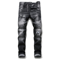 Único Mens Distressed emblema magro preta Jeans Fashion Designer Slim Fit Lavados Motocycle Denim Pants Hip Hop com painéis motociclista Calças 1056