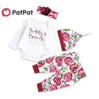 Patpat otoño e invierno de algodón recién nacido informal de 4 piezas Mono Rose Imprimir Pantalones y Sombrero del bebé de la venda de arrastre del Traje