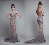 Berta 2020 Cristal perles robes de soirée de luxe ouverte Retour Mermaid Prom gStylo long See Through Party officiel Pageant Wear