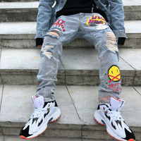 Hole Flame Graffiti Painted Skinny Jeans Ripped for Men Stra...