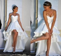 Simple High Low Satin Wedding Dresses Strapless Lace- Up Back...