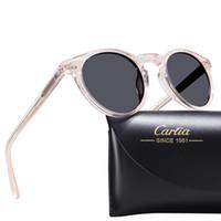 carfia Polarize 5288 oval Yuvarlak çerçeve güneş gözlüğü kutusu ile 400 koruma asetat ilc reçine gözlük UV kadınlar için güneş gözlüğü