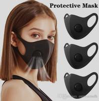 США STOCK черный Anti Dust маска с клапаном РМ2,5 Дыхательные Защитные лица Рот хлопок Маски Респиратор моющийся многоразовый анти туман Haze взрослых