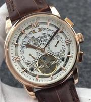 Haut en cuir Mode mécanique Hommes en acier inoxydable or rose Mouvement automatique Montre de sport pour hommes watchesa Montres-bracelets