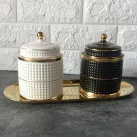 Candelabro de cerámica hecha a mano de bricolaje velas tarro blanco retro cuba de almacenamiento Craft decoración del hogar Caja de almacenamiento jewerlly