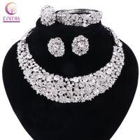 Kvinnor vita kristall smycken uppsättningar med örhängen uttalande halsband boho trendigt halsband för fest bröllop direktförsäljning