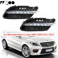 1 Pari per Mercedes-Benz Classe C W204 2011 2012 2013 LED DRL Bianco Luce di marcia diurna Ambra Indicatori di direzione Fendinebbia