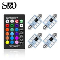 أضواء السيارات الداخلية RGB LED C5W اكليل 31MM 36MM 39MM 42MM مع البعيد متعدد الألوان التحكم في قبة ضوء مصباح القراءة 12V السيارات