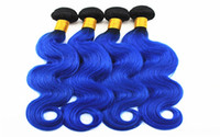 1B / Blue Body Wave Extensions 3 o 4 Bundles Brasiliano 100% Vergine Capelli Umani Tesse Ombre Two Tone Colore 10-18 pollice