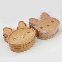 Bonito coelho em forma de bebê jantar placas Natural de madeira arroz pratos de arroz crianças