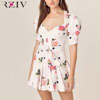 RZIV Sommerfrauen Kleid lässig Blumendruck Gurtdekoration dünnes Kleid Vestidos