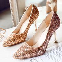 تألق أحذية الزفاف الترتر الذهب عدن أحذية الكعب العالي لحضور حفل زفاف حفلة موسيقية الأحذية الحمراء الفضة الحمراء 5 سم 7 سم 9 سم في المخزون