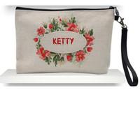 DHL120pcs 23cmx16cm sublimación de lino bolsas de cosméticos de maquillaje las mujeres de bricolaje en blanco bolsa con cremallera sencilla embrague bolsa de teléfono