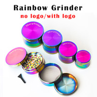 DHL Free Rainbow Grinder Herb Grinder 40mm 50mm 55mm 63mm 4 layer tobacco grinder Zinc Alloy Material Rainbow Laser Color Tobacco Grinders