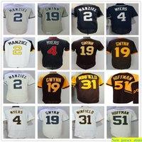Personalizzato Mens Donne Gioventù 4 Wil Myers Jersey Cucito Baseball 19 Tony Gwynn 31 Dave Winfield 2 Johnny Manziel 51 Trevor Hoffman Jerseys
