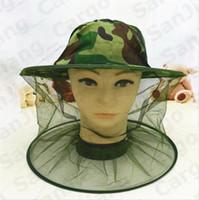 Camuflaje apicultura apicultor anti-mosquitos abeja del insecto del insecto de la mosca de la máscara del sombrero de la pesca Cabeza acoplamiento de la red de protección de la cara sombrero al aire libre E31004