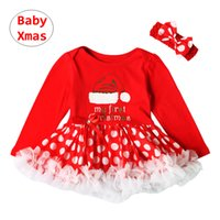 Baby Girl Xmas Outfit Toddler manica lunga pagliaccetto rosso + fascia 2 pezzi Set panno patchwork neonato