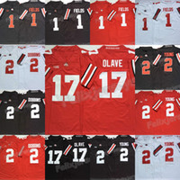NCAA 2020 Ohio State Buckeyes 17 Chris Olave Justin Fields 2 Chase jeune JK Dobbins College Football Jerse