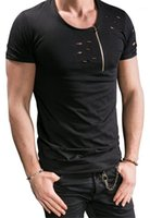 T-shirt manica con la chiusura lampo laterale Casual Designer estate Mens Tee di modo di colore solido Mens Tops Breve