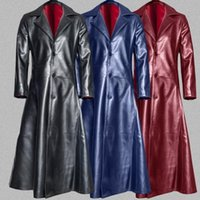 Herren Windjacke Lederjacke Herrenmode Gothic langer Mantel-Ledermantel Faux Long Jacket Warm Trench-Jacken S-5XL