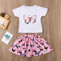 2019 Kids Baby Girls Butterfly Printed T- shirt Skirts Dress ...