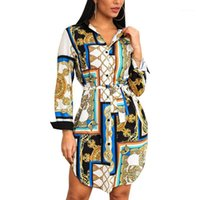 Старинные печати Длинная блузка Женщины Топы Мода Отворотный Кнопка Кнона Круга Блуза Офис Женская Рубашка Длинные Рукав Топ Blusa Streetweart1