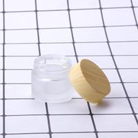 Geada vidro de garrafas de 5g 10g 15g 30g 50g 100g frascos de vidro vazio Creme Jar Cosmetic Packaging Container com tampa de plástico Bambu