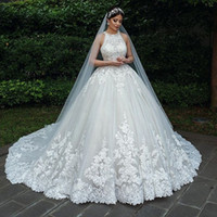 2019 Luxury Ball Gown Wedding Dresses Halter Sleeveless Lace...