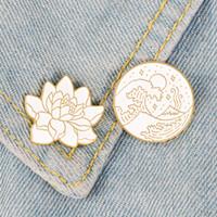 연꽃 웨이브 별이 빛나는 밤 에나멜 핀 배지 브로치 가방 옷 옷깃 핀 만화 식물 달 자연 보석 선물 친구