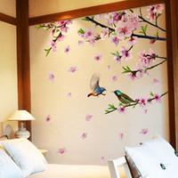 Ветвь дерева Цветочные Птицы Стикеры Стены DIY Персиковый Цвет Наклейки На Стены для Дома Гостиная Спальня Украшения