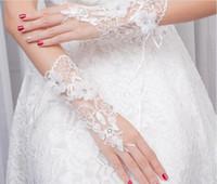 Pas Cher En Stock fllowers ace Appliques Perles mitaines Poignet Longueur Avec Ruban Gants De Mariée Accessoires De Mariage