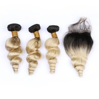 # 1B / 613 Ombre brasileño Ola suelta brasileña Paquetes de cabello con cierre Raíces oscuras Rubio ondulado Virgen Cabello humano 4x4 Parte libre Cierre de encaje
